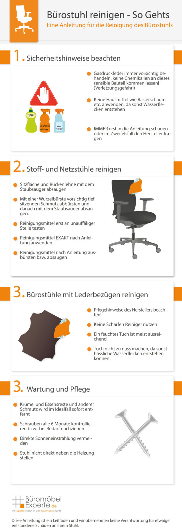 Bürostuhl reinigen Infografik
