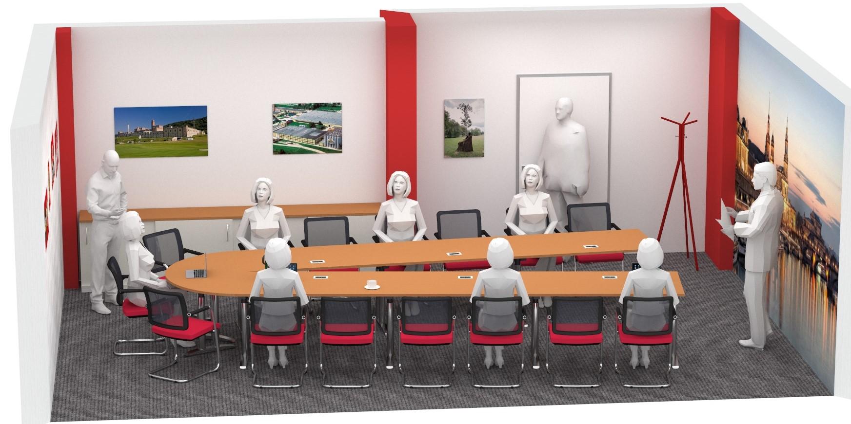Konferenztisch in U-Form, geplant von R.Bellmann