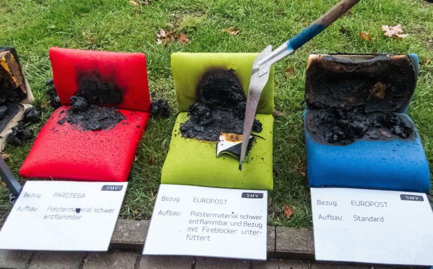 Schwer entflammbare Büromöbel: Bezüge mit Fireblocker greifen das Polster kaum an