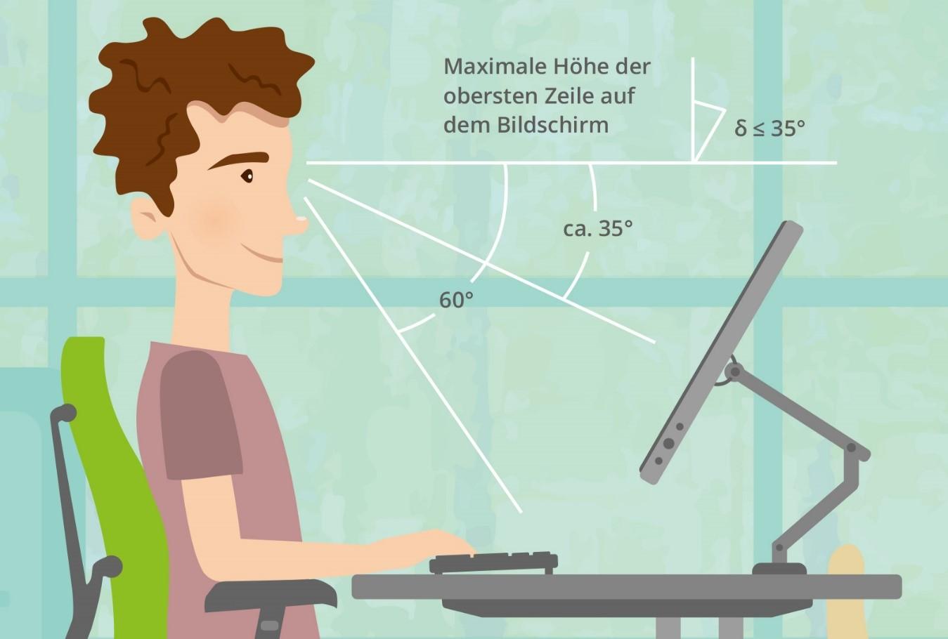 Richtig Sitzen: So sollte der Monitor aufgestellt sein, um eine gesunde Sitzhaltung zu ermöglichen