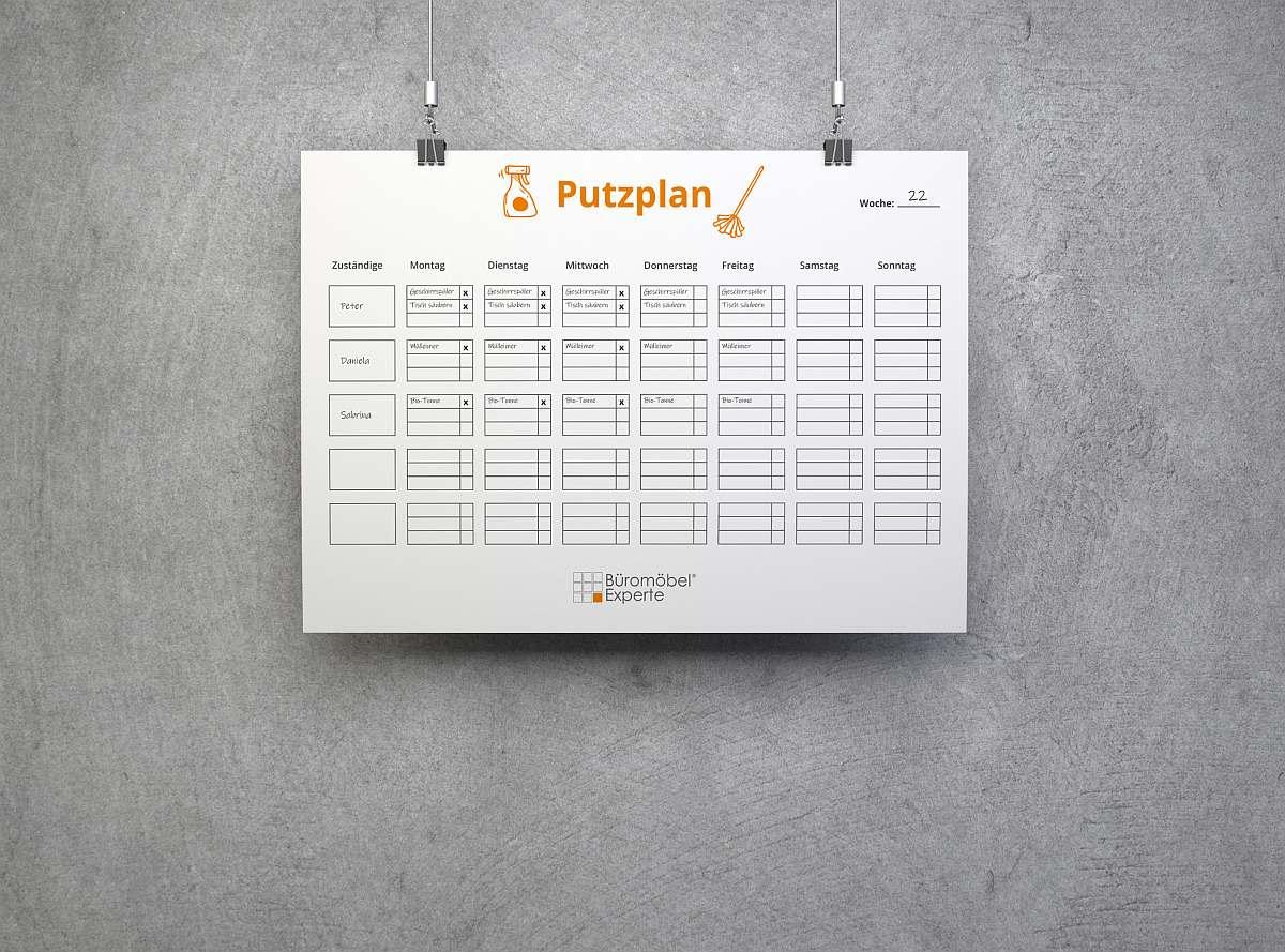 Beispiel für einen Putzplan für die Büroküche